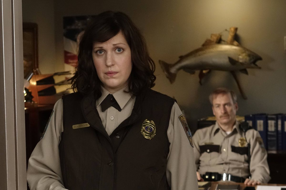"FARGO ""Morton's Fork"" -- Episode 110 -- Airs Tuesday, June 17, 10:00 pm e/p) -- Pictured: (L-R) Allison Tolman as Molly Solverson, Bob Odenkirk as Bill Oswalt -- CR: Chris Large/FX"